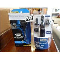SCHICK HYDRO 5 SENSE RAZOR AND WAHL EAR, NOSE, AND BROW TRIMMER