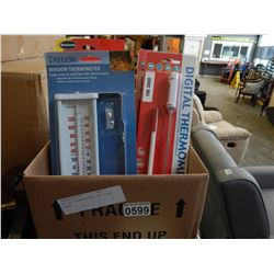 BOX OF THERMOMETERS AND FLASH LOOPE