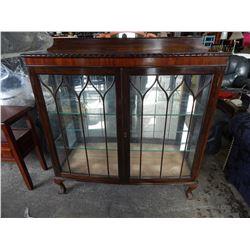 ANTIQUE CLAW FOOT GLASS DOOR DISPLAY CABINET