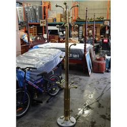 BRASS COAT STAND W/ MARBLE BASE