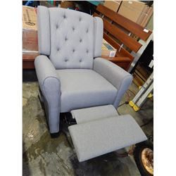 NEW KIDIWAY HELEN SWIVEL GLIDER RECLINING CHAIR, IN LIGHT GREY, TUFTED BACK RETAIL $699