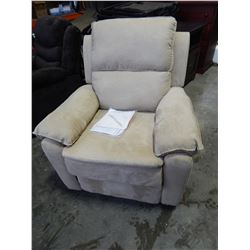 NEW LIFESTYLE WEBSTER RELAX-A-LOUNGER BEIGE MICRO SUEDE RECLINER, RETAIL $499