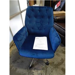 NEW MID BACK TUFTED BLUE ADJUSTABLE HEIGHT MANAGER OFFICE CHAIR WITH RECLINE, RETAIL $159