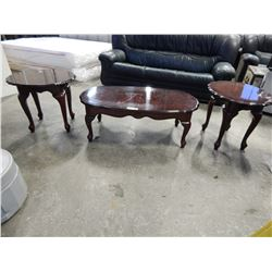 QUEEN ANNE STYLE 3PC COFFEE TABLE SET