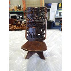 AFRICAN WOODEN CARVED FOLD UP CHAIR
