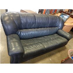 3 PIECE DARK LEATHER SOFA AND 2 CHAIRS