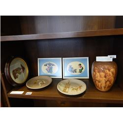 3 FRAMED NEEDLE POINT PICTURES, 2 HAND MADE POTTERY PLATES, AND VASE