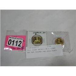 2001 3CENT MEDALLION & STAMP SET 925 SILVER 24K GOLD PLATE