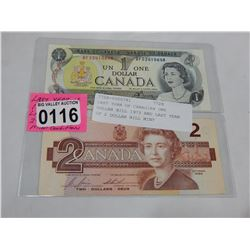 LAST YEAR OF CANADIAN ONE DOLLAR BILL 1973 AND LAST YEAR OF 2 DOLLAR BILL MINT CONDITION