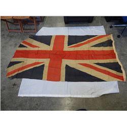 LARGE ANTIQUE UNION JACK FLAG 7FT X 4 FT
