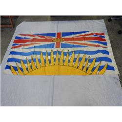 LARGE VINTAGE BC FLAG 2FT 8 INCH X 5FT 8 INCH
