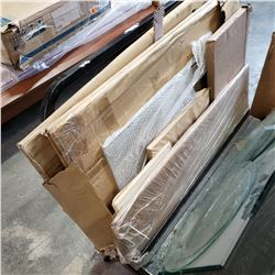 LOT OF PACKAGED UNDELIVERED GLASS SECTIONS