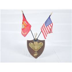 WWII Marine Corps Service Plaque w/ Flags