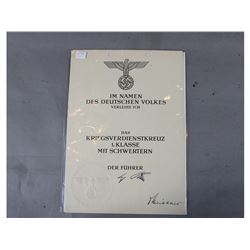 WWII German Award Document
