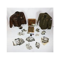 "WWII ""Zacek"" A2 Flight Jacket And Photo Lot"
