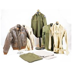 "WWII ""Sparks"" A2 Jacket and Uniform Grouping"