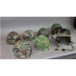Lot of 7 Helmets & 1 Helmet Liner