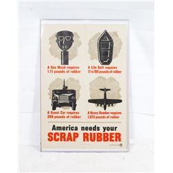 WWII Scrap Rubber Poster 1942