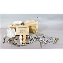 6 New in Box Mess Kits, Misc. Silverware