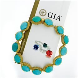 18k Yellow Gold GIA Certified Large Cabochon Greenish Blue Turquoise Statement N