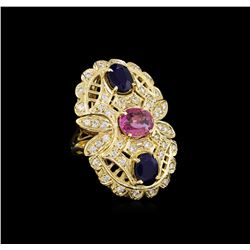 4.58 ctw Sapphire and Diamond Ring - 14KT Yellow Gold