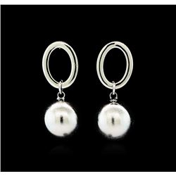 14mm Satin Bead and Glossy Post Earrings - Rhodium Plated