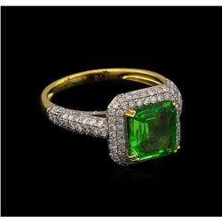 2.12 ctw Tsavorite and Diamond Ring - 18KT Yellow Gold