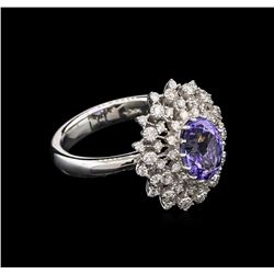 2.18 ctw Tanzanite and Diamond Ring - 14KT White Gold