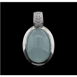 24.19 ctw Quartz and Diamond Pendant With Chain - 18KT White Gold
