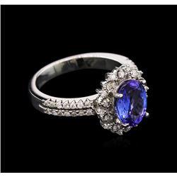 1.88 ctw Tanzanite and Diamond Ring - 14KT White Gold