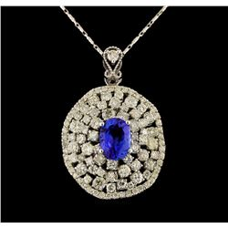 14KT White Gold 2.27 ctw Tanzanite and Diamond Pendant With Chain
