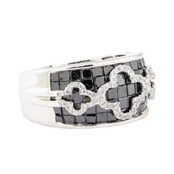 2.91 ctw Black and White Diamond Ring - 14KT White Gold