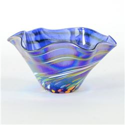 Mini Wave Bowl (Blue Rainbow Twist) by Glass Eye Studio