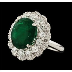 6.06 ctw Emerald and Diamond Ring - 14KT White Gold