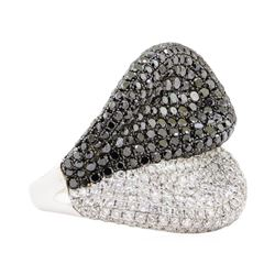 4.11 ctw Black and White Diamond Ring - 18KT White Gold