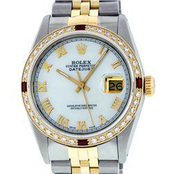 Rolex Mens 2 Tone 14K Mother Of Pearl Diamond & Ruby 36MM Datejust Wristwatch