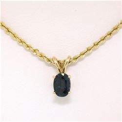 "14K Yellow Gold .75 ctw Oval Cut Sapphire Solitaire Pendant w/ 18"" Rope Chain 6."