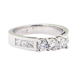1.00 ctw Straight Line Diamond Ring - 14KT White Gold