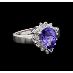 2.87 ctw Tanzanite and Diamond Ring - 14KT White Gold