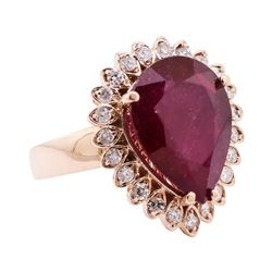 9.44 ctw Ruby And Diamond Ring - 14KT Rose Gold