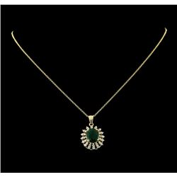 3.20 ctw Emerald and Diamond Pendant With Chain - 14KT Yellow Gold