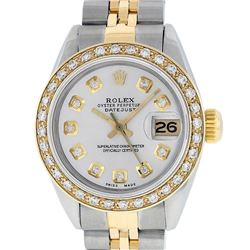 Rolex Ladies 2 Tone 14K Silver Diamond Datejust Wristwatch