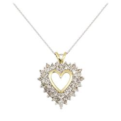 1.30 ctw Diamond Heart Shaped Pendant with Chain - 14KT Yellow and White Gold
