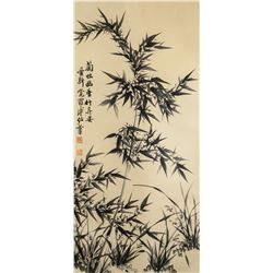 Puru 1896-1963 Chinese Ink Bamboo and Orchid