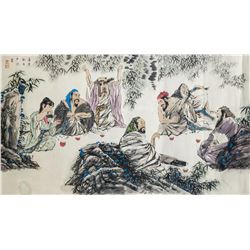 Hu Chen Chinese Watercolor Sages Roll