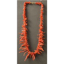 NAVAJO INDIAN CORAL NECKLACE