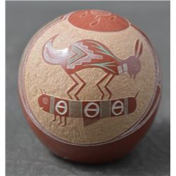 SANTA CLARA INDIAN POTTERY SEED JAR (JOSEPH LONEWOLF)