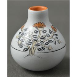 CHEMEHUEVI INDIAN MINIATURE POTTERY VASE (TERESA WILDFLOWER)