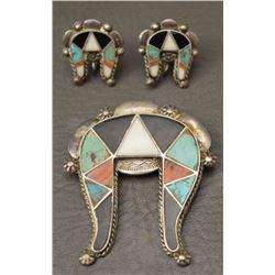 ZUNI INDIAN PIN AND EARRINGS