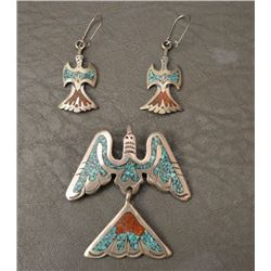 NAVAJO INDIAN PIN AND EARRINGS